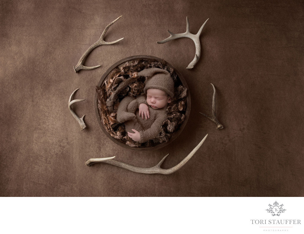 Newborn Photography Baby Hunting Theme Antlers