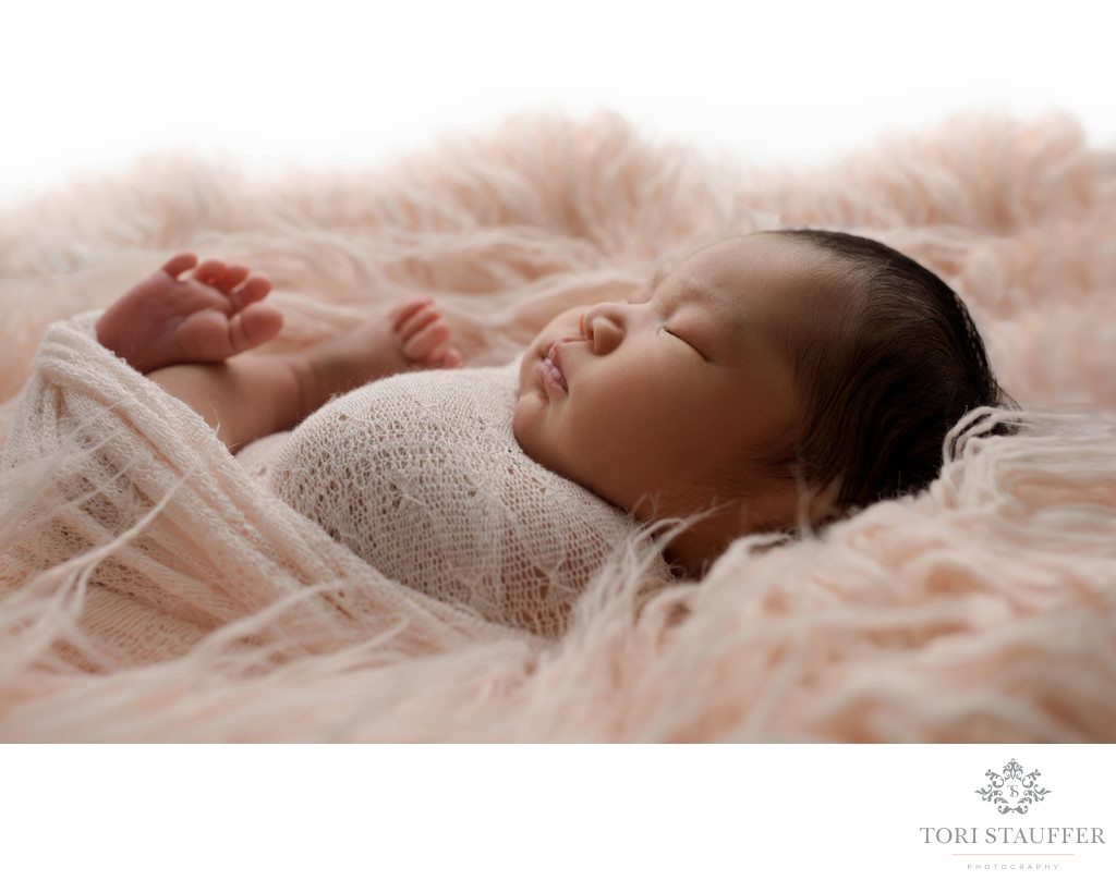 Newborn Photographer Philadelphia soft blush fur