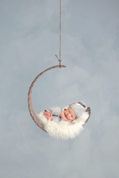 Philadelphia Newborn Photographer Hanging Moon