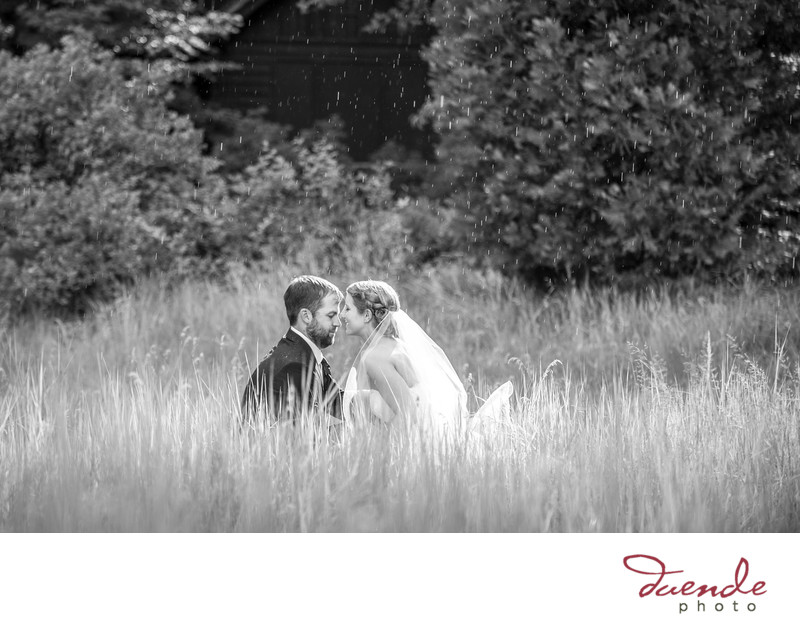 Bride and Groom in cooks meadow yosemite