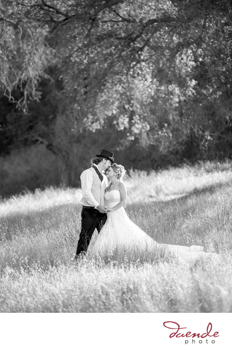 Bride and Groom under an oak tree