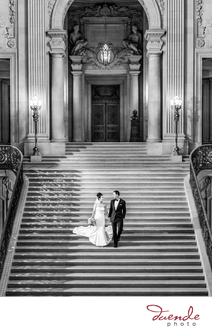 Bride and Groom on Grand Staircase City Hall