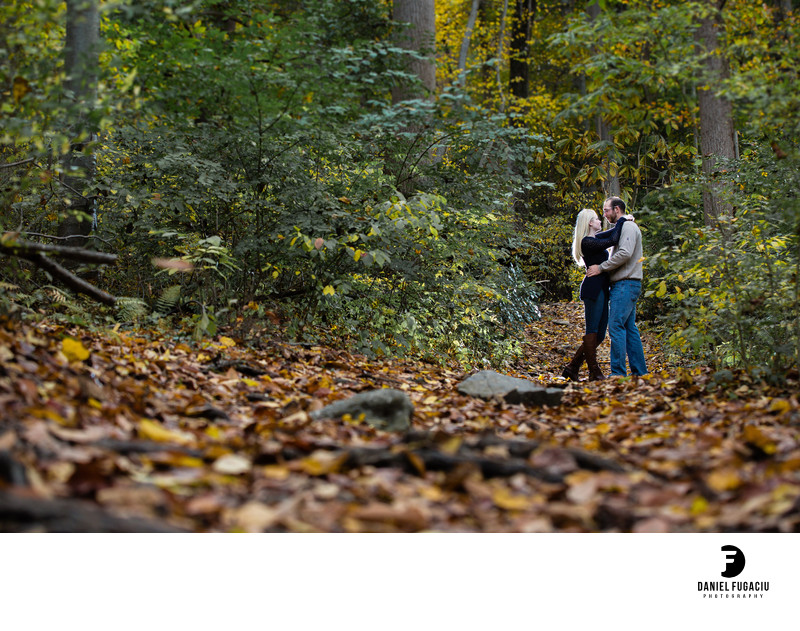 Fall portrait of engaged couple