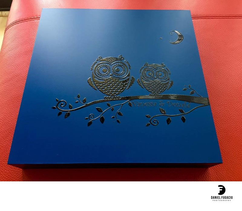 Blue engraved wedding album box