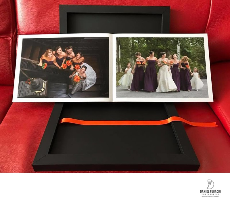 Custom designed wedding albums made in Italy bridesmaids