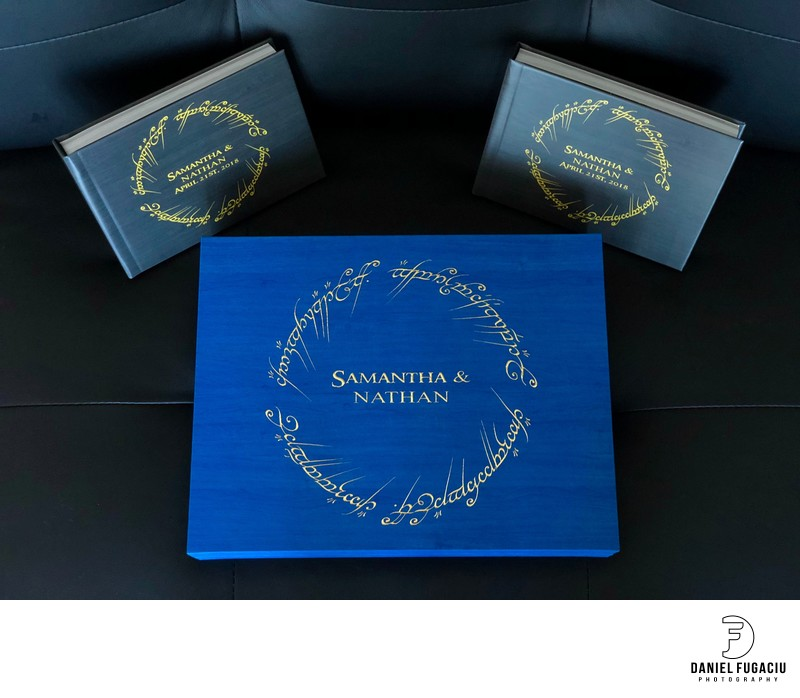 Maple gold foil engraved wedding album with parent book