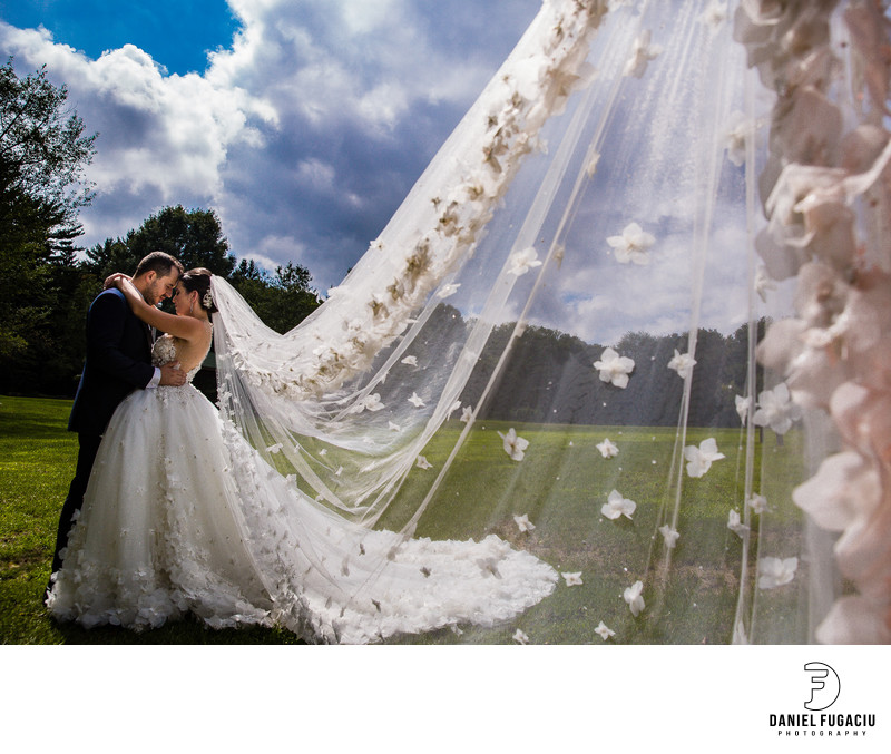 Portrait of bride and groom with veil in the wind