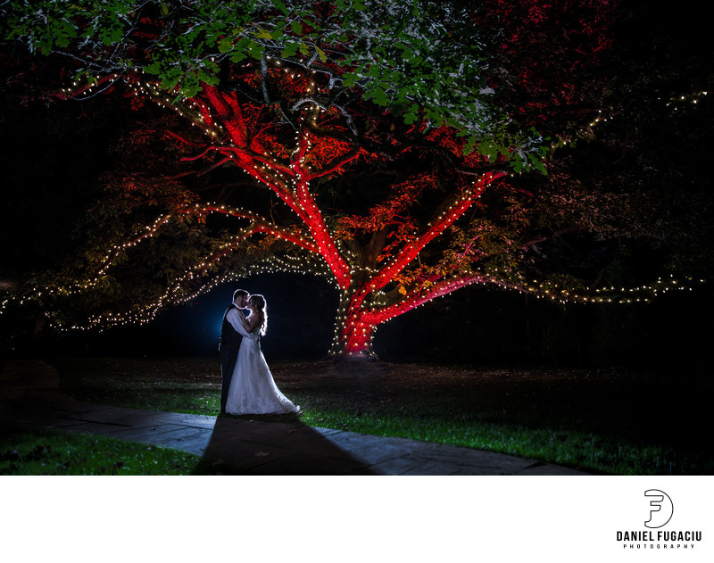 Bride and groom kissing under red tree with lights