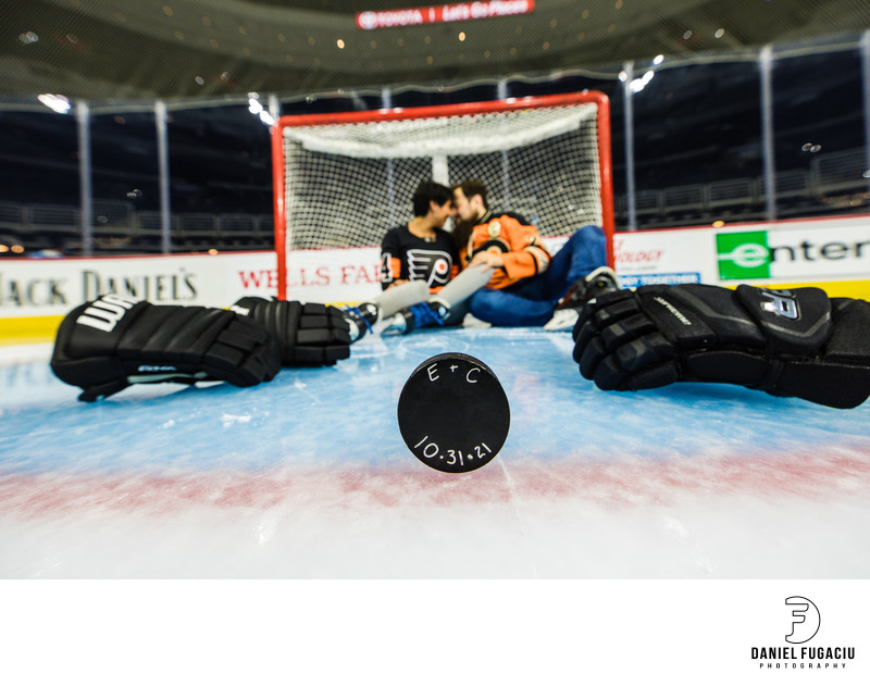 Flyers Engagement Session puck with wedding date