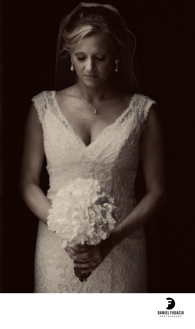 Moody bride photo B&W
