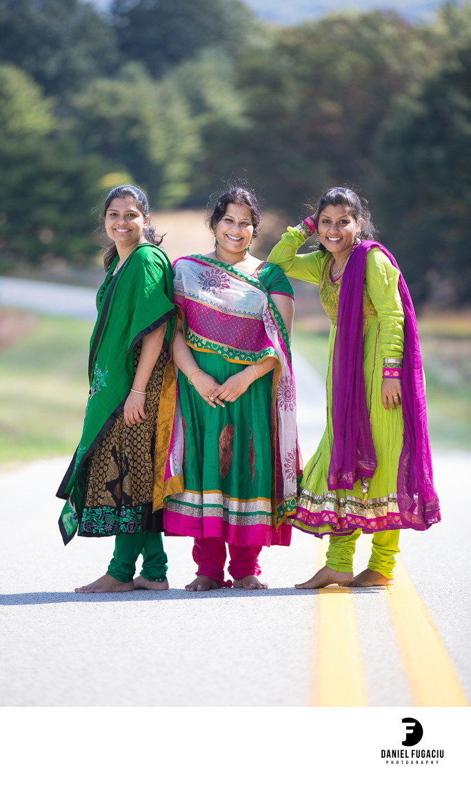 Indian saris three sisters photo