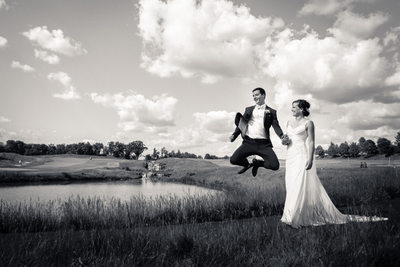 Rivercrest groom and bride portrait jumping
