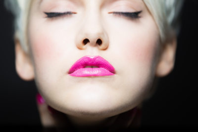 Pink lips girl portrait