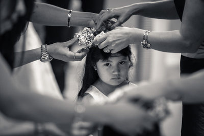 Flower girl overwhelmed by getting ready