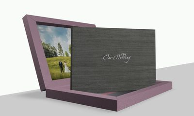 Purple leather wedding album made in Italy
