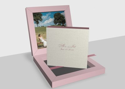 Pink textile wedding album made in Italy