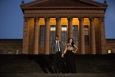 Evening engagement fashion portrait at Art Museum