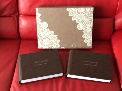 Brown leather wedding album with box made in Italy