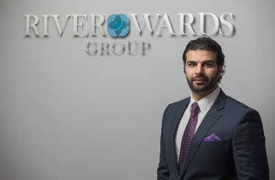 Business portrait with company logo