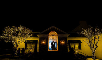 Night photograph of bride and groom at The William Penn Inn