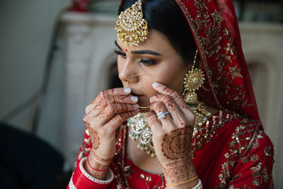 Sikh bride getting ready