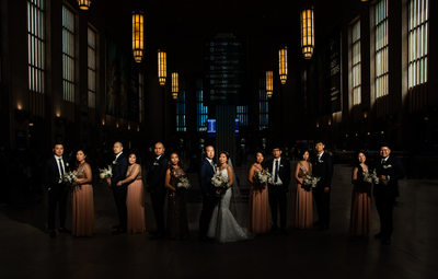 Bridal party in Philadelphia at 30th Street Station
