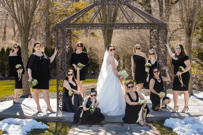 Winter wedding fun with the bridal party