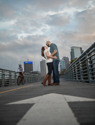 Schuylkill River Trail engagement couple