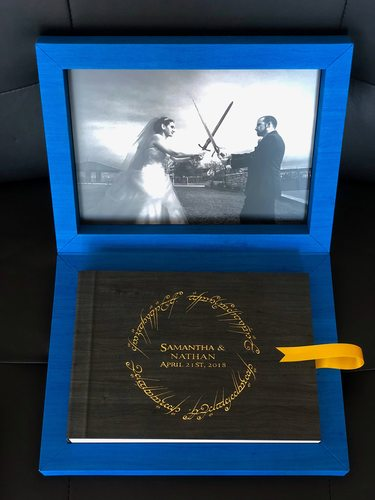 Maple gold foil engraved wedding album with lotr ring