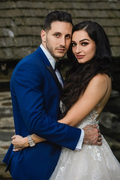 Bride and Groom embraced portrait
