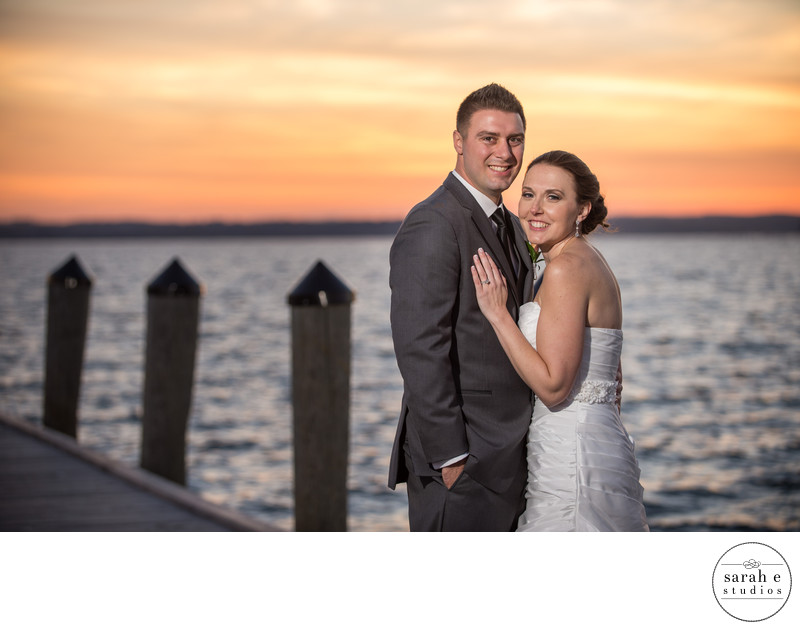 Formal Portrait of Bride and Groom at Sunset with Flash