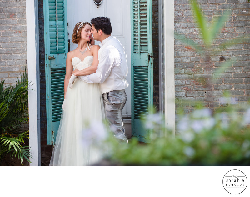 Lemp Mansion Portrait of Bride and Groom Kissing