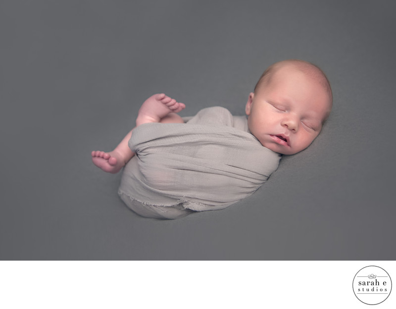 Sleepy Baby Boy in Newborn Pic in High Ridge