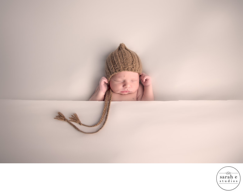 St. Louis Newborn Photo in Brown Hat