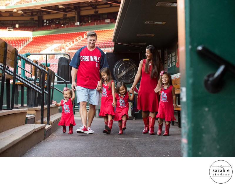 Family Photographer Inside Busch Stadium in St. Louis