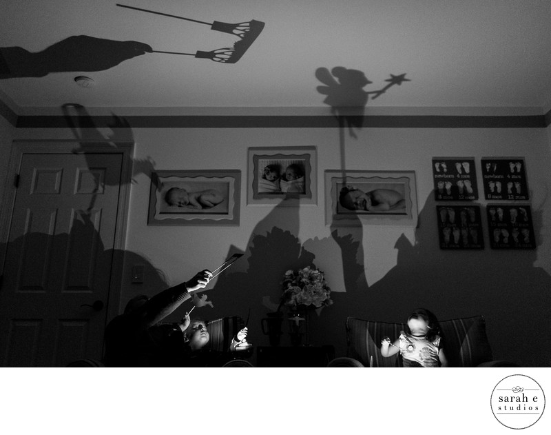 Family Documentary Photographer of Shadow Puppets