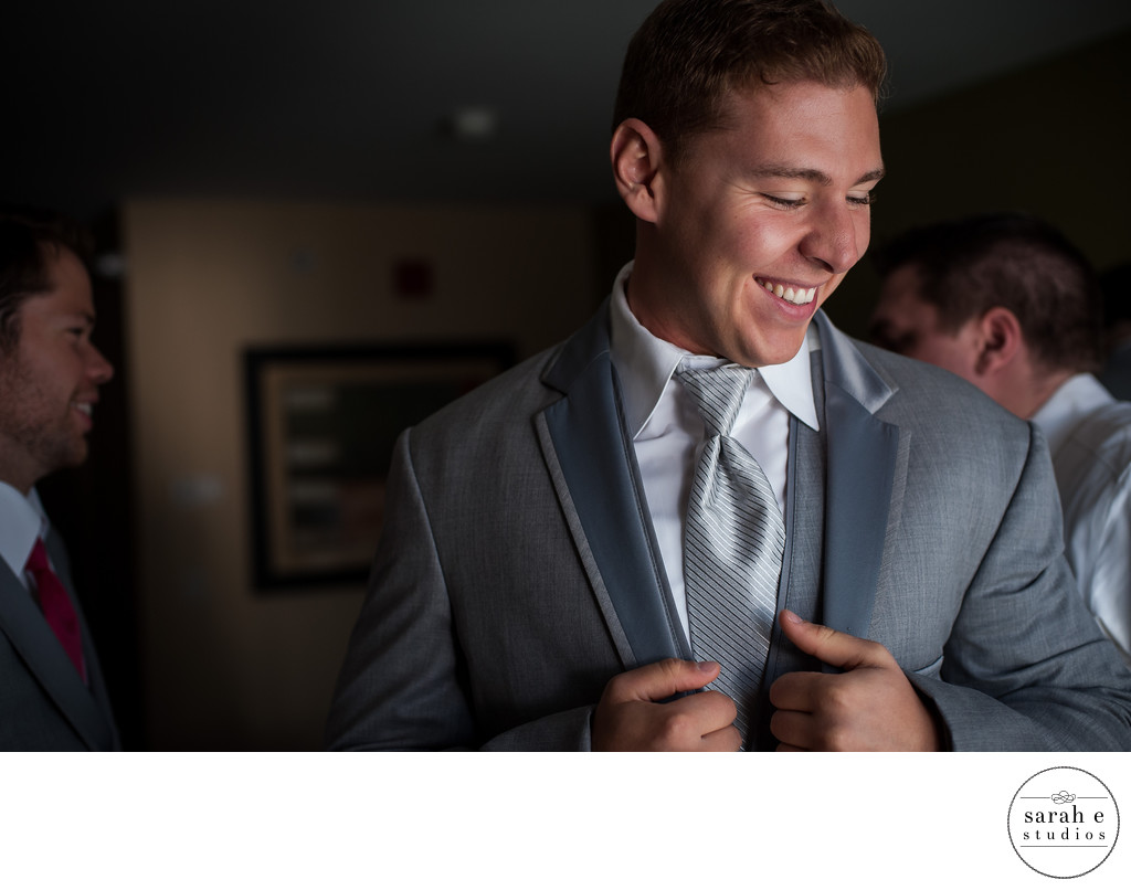Groom Getting Ready in a St. Louis Hotel Wedding