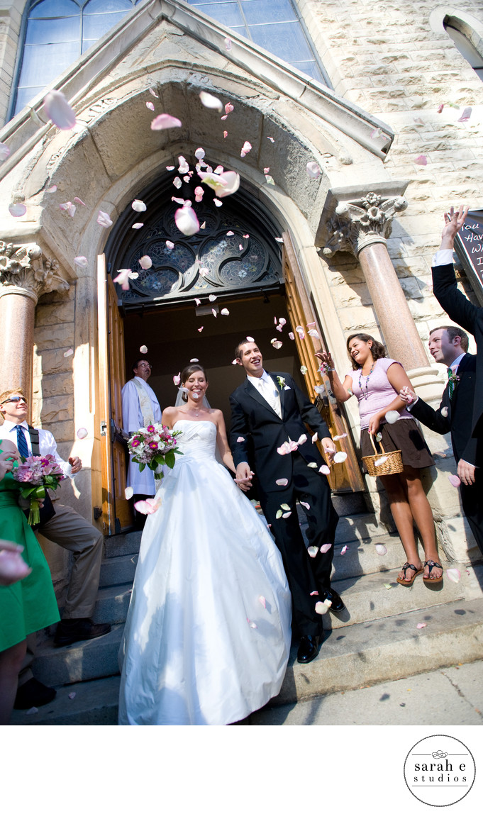 Church Exit in Chicago with Rose Petals