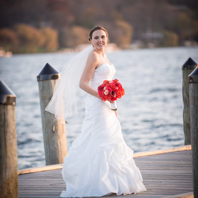 Bridal Portrait on a Dock at the Lake
