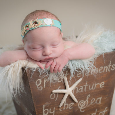 newborn baby girl ocean theme newborn photo Florida