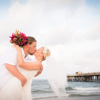 Pompani pier beach wedding elope Florida photographer