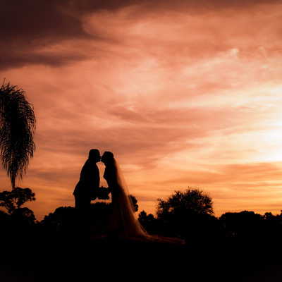 wedding silhouette Florida sunset
