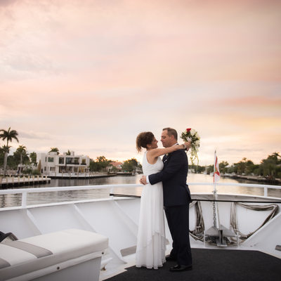 sundream yacht ft lauderdale wedding boat sunset