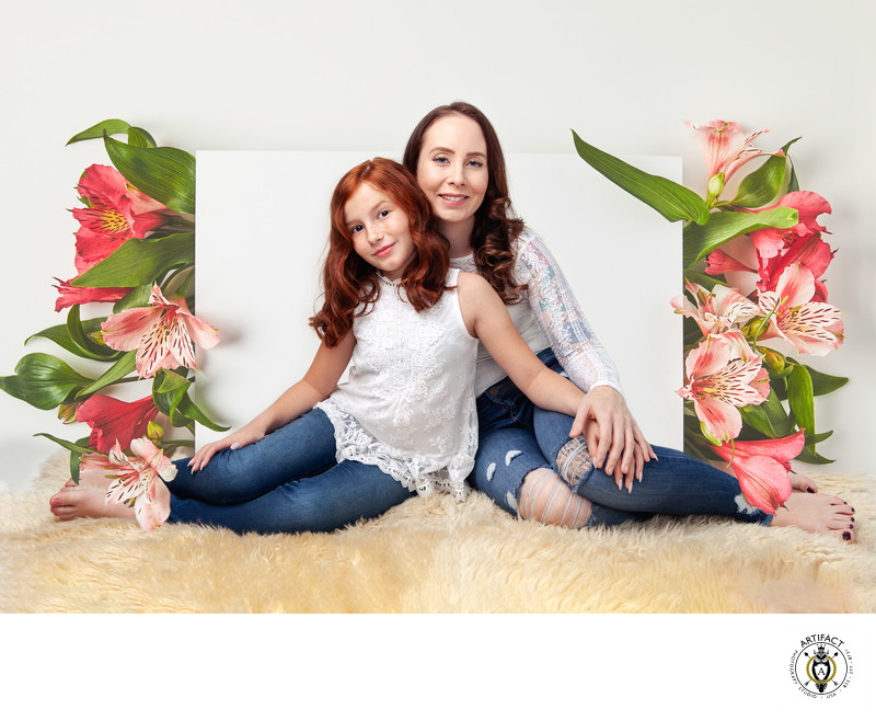 Mother and Daughter Creative Portrait with Day Lilies