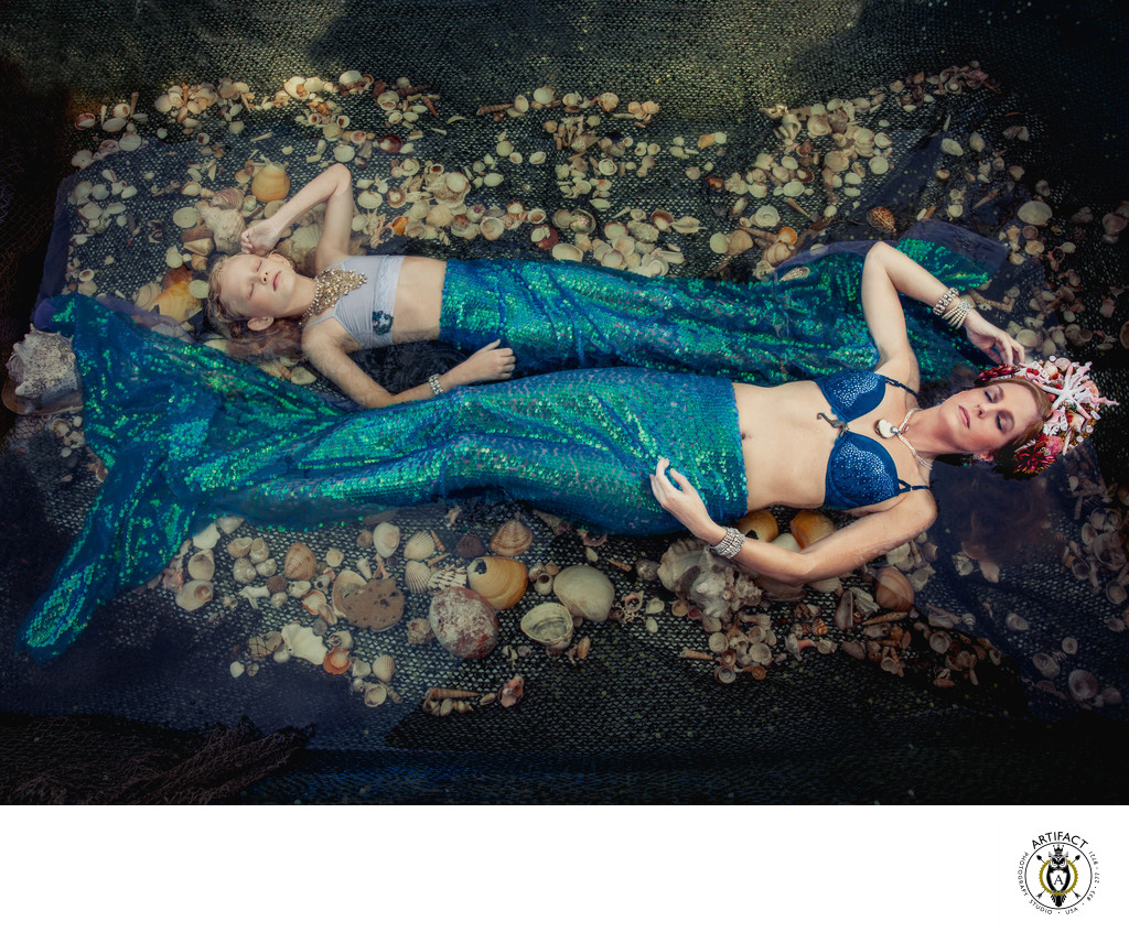 Fine Art Mother and Daughter Outdoor Mermaid Portrait