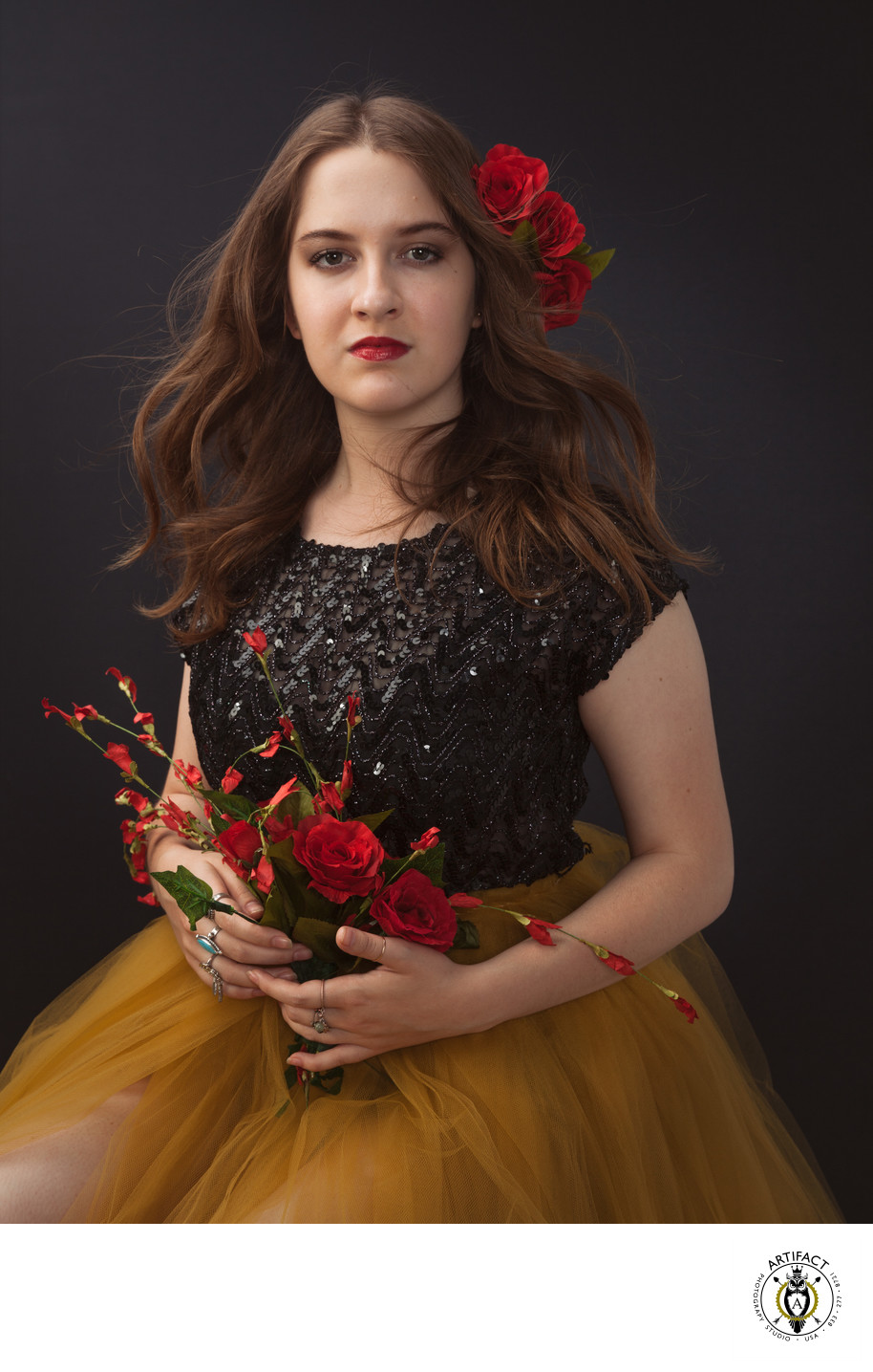 Glamour Portrait with Red Roses | Lily