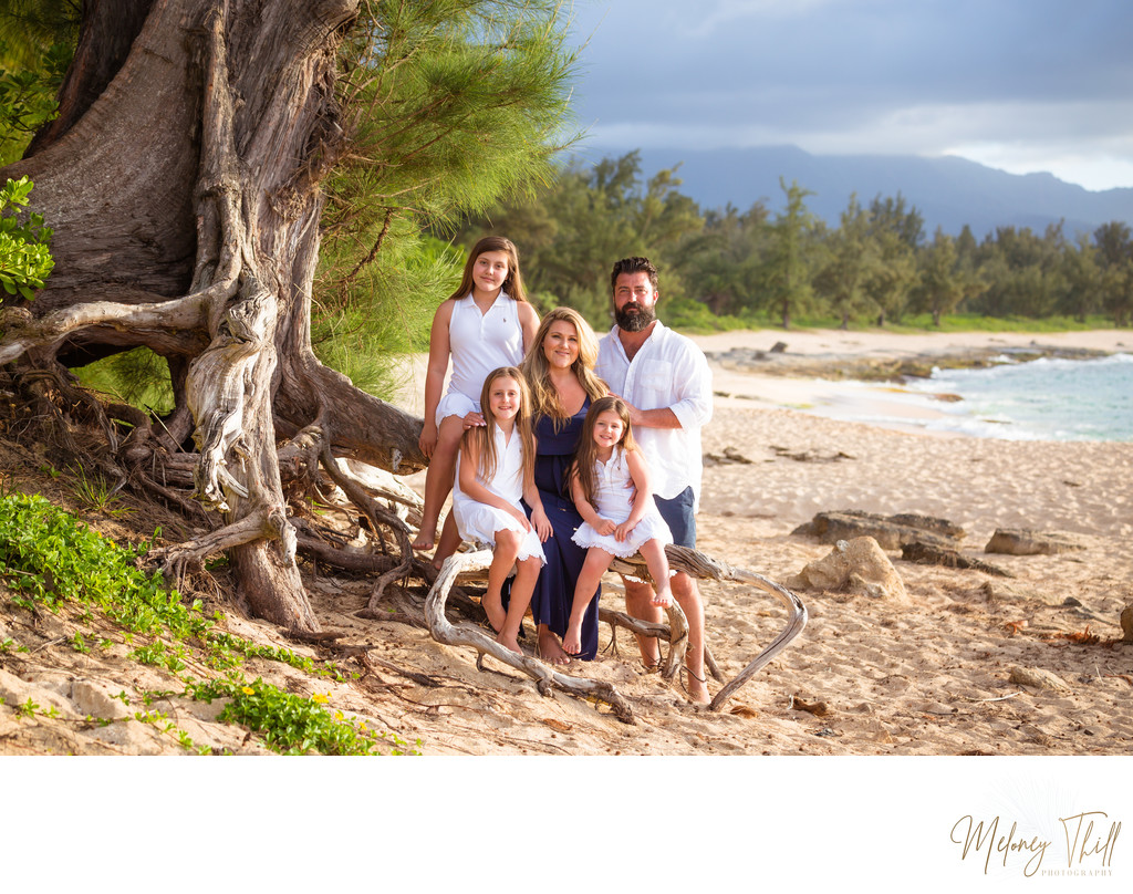 Family photo on the beach near Haleiwa