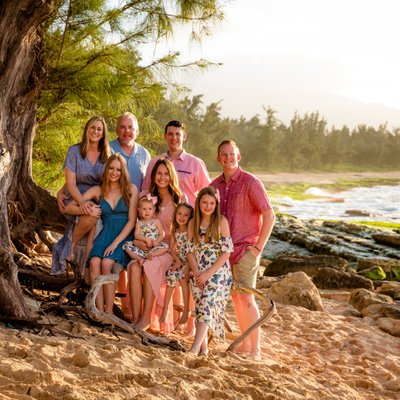 Family Photo on a beach in Haleiwa