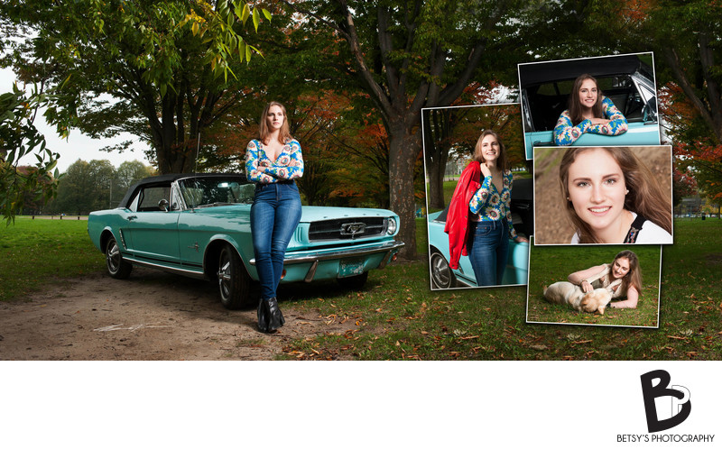 Burns Park (Ann Arbor) Senior Pictures With Car + Dog