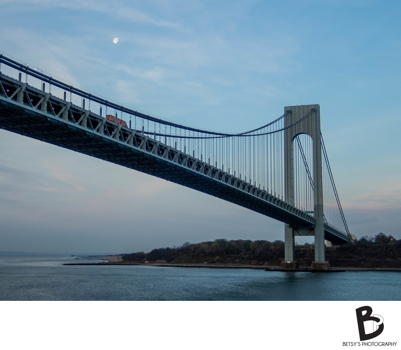 Verrazzano-Narrows Bridge, with Moon in Sky